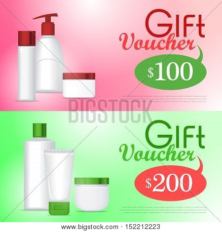 Gift voucher cosmetics template. Present for 100 and 200 dollars. Certificate coupon on buying professional natural organic sea cosmetics. Part of series of decorative cosmetics items. Vector