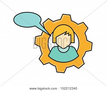 Young woman private icon with dialog window. Young blonde woman in blue shirt. Avatar in gear. Social networks business private users avatar pictogram. Round line icon. Isolated vector illustration.