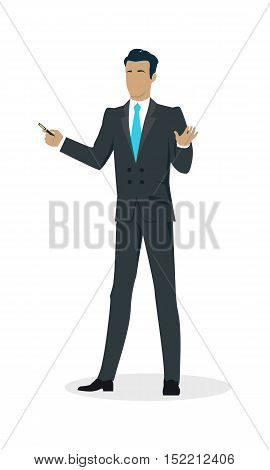 Businessman with black hair in black business suit and blue tie with pointer. Man personage in front. Business presentation concept. Isolated vector illustration on white background.