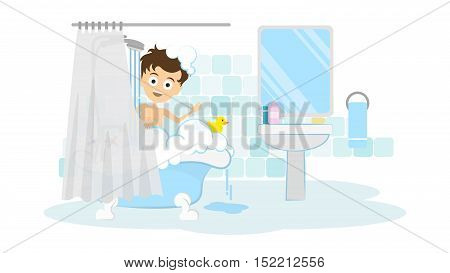 Surprised man in the bathroom. Awkward situation. Man washing in the shower with foam and bubbles.