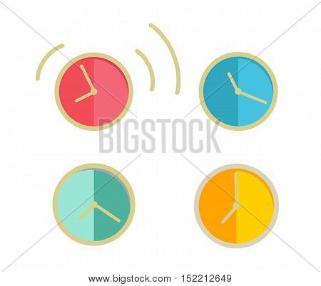Classic round wall clock with color bodies. Wall clock icons set. Mechanical clock. Office workplace design element. Isolated object on white background. Vector illustration.