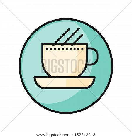 Coffee cup icon. White cup on blue background. Coffee hot drinking cup. Coffee time, break time concept. Hot drink blue icon. Idea concept. Round line icon. Vector illustration.