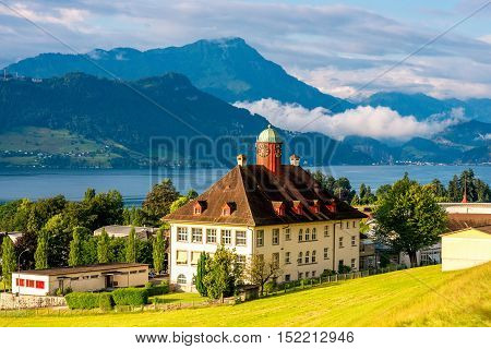 Landscape view lucerne lake with old town hall in Switzerland
