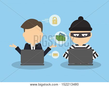 Money hacking concept. Thief stealing money and information from laptop of businessman.