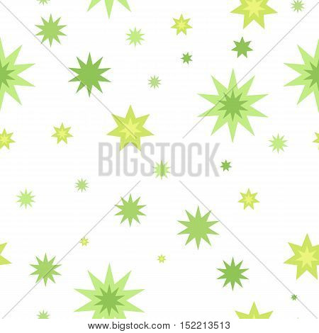 Seamless pattern with star splashes isolated on white background. Cartoon style. Wallpaper design, covers, posters, wrapping papers, backgrounds. Success and fortune concept. Modern flat design. Vector
