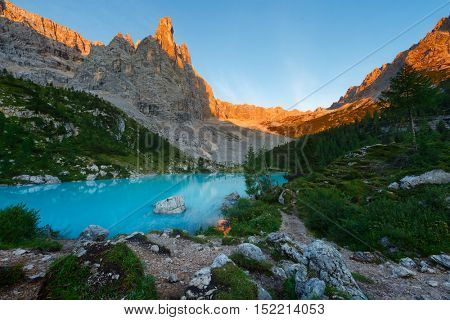 Sorapis lake in Dolomites (Italy)