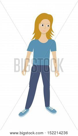 Woman character vector in flat design. Smiling blonde female in casual clothes. Illustration for profession, human concepts, app icons, infographics. Isolated on white background