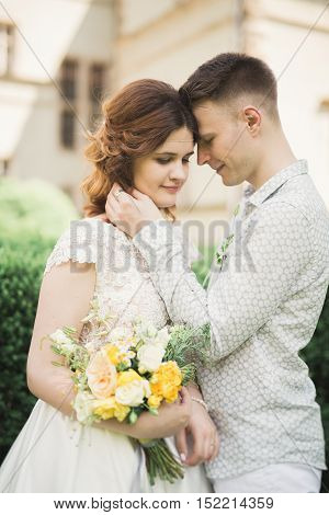 Gorgeous romantic gentle stylish beautiful caucasian bride on the background ancient baroque castle.