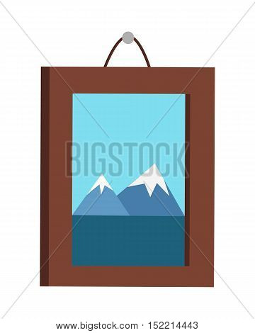 Picture in frame hanging on the wall. Mountain landscape on the picture. Picture frame with natural landscape. Design element for interior. Isolated vector illustration on white background.