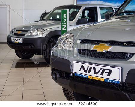 Voronezh, Russia - June 20, 2016: New Niva cars are in showroom SCS Lada Voronezh