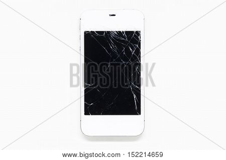 Mobile phone screen is cracked isolated on white background.