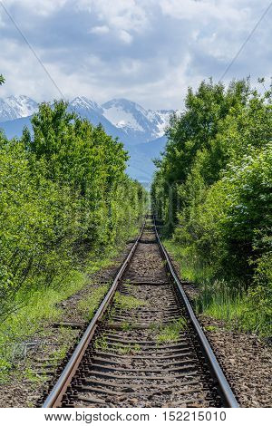 Long old railway in the forest with mountains in background
