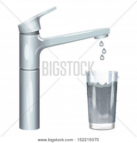 Tap with dirty water muddy water in glass pollution concept. Vector illustration