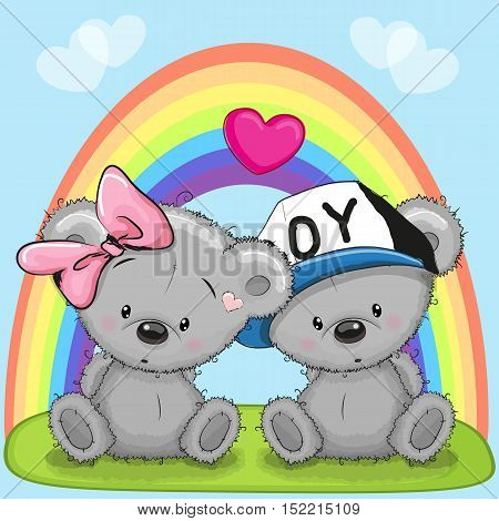 Valentine card with Lovers Bears and a rainbow