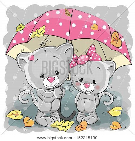 Two cute cartoon kittens with umbrella under the rain