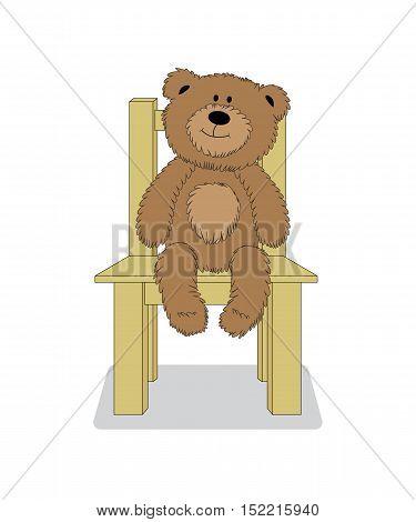 Cartoon teddy bear sitting on the chair. Vector illustration.