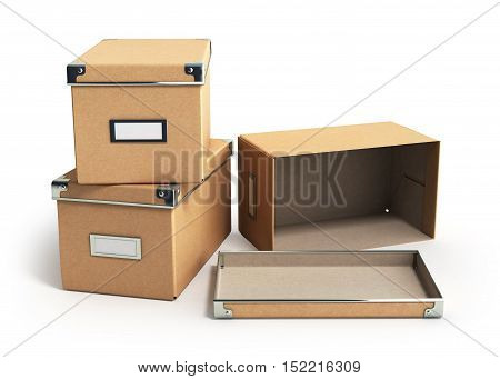 Concept Organization  Boxes With One Open Empty Box 3D Render