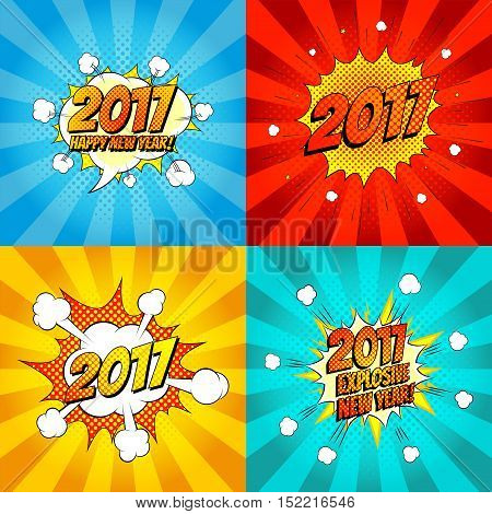 Set of comic happy new year banners. Vector illustration. Decorative set of backgrounds for happy new year with bomb explosive in pop art style.