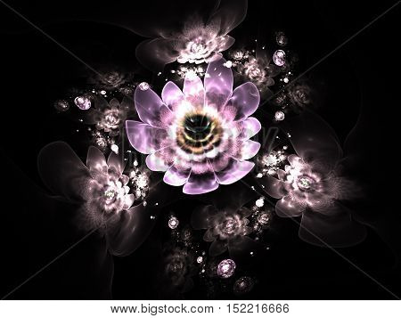 Abstract colorful pink and beige flowers on black background. Fantasy fractal design for posters or t-shirts. Digital art. 3D rendering.