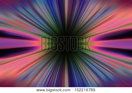 A colourful sunburst rays with black centre