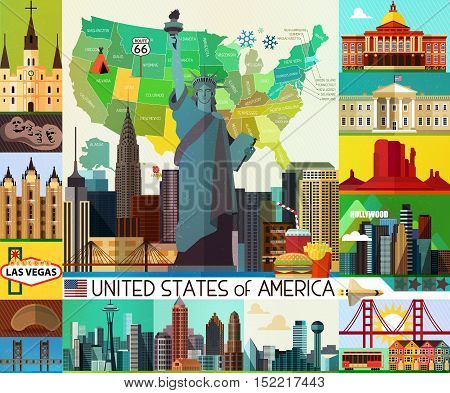 Vector Set of Various United States of America Icons