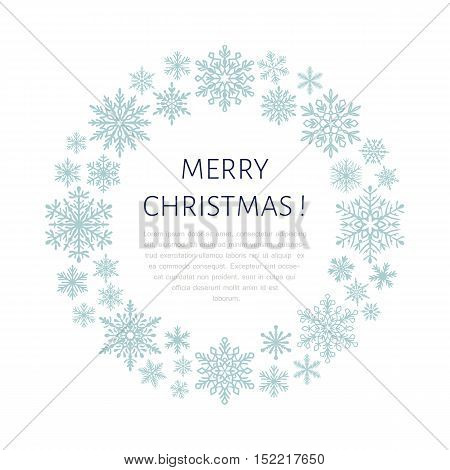 Cute snowflake poster banner. Season greetings. Flat snow icons snowfall. Nice snowflakes for christmas banner cards. New year snowflake. Merry Christmas wreath