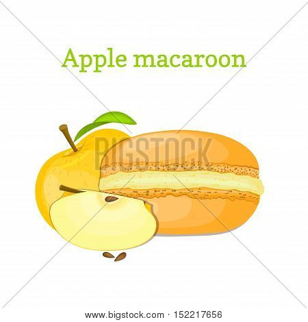 Vector illustration of a delicious French dessert. Macaroon yellow apple. Macaron delicious orange fruit sweetness isolated on white background to design a menu, packaging, confectionery decoration.