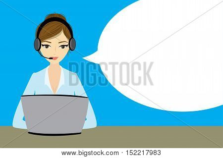 Customer service representative at computer in headset . Cartoon phone operator with speech bubble. Vector illustration