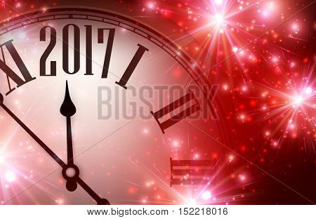 2017 year red shining background with clock. Vector illustration.