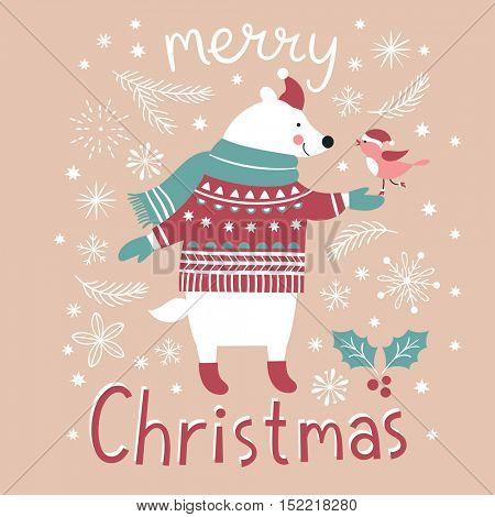 Christmas illustration, cute bear and little bird