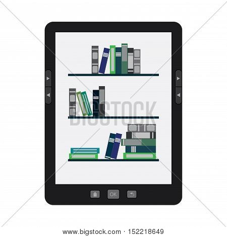 Vector illustration of a portable modern tablet  e-book reader