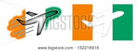Nation Flag - Airplane Isolated - Ivory Coast