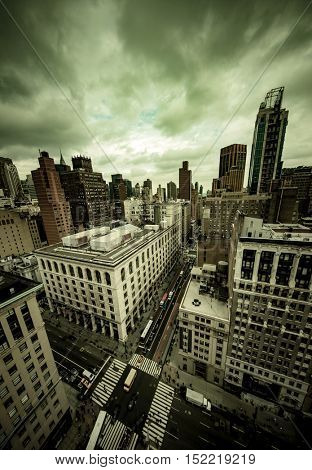 Dramatic grunge filtered view of New York City