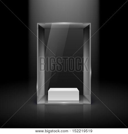 Glass Showcase with Spot Light for Presentation on Black, vector