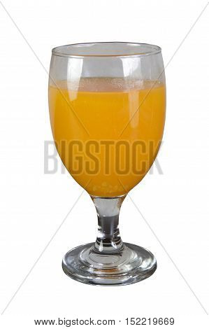 Passion fruit juice in port glass. Isolated on white with work paths