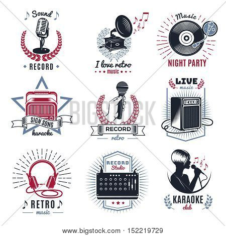 Karaoke vintage logos set with retro audio equipment musical notes laurel wreaths and rays isolated vector illustration