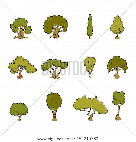 Great designed green tree vectors for illustrations