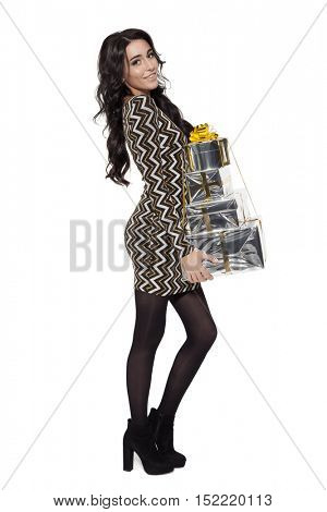 Charming Woman Holding Gifts. Happy New Year. Marry Christmas. Isolated On White.