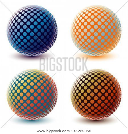 Four colorful digital globes.
