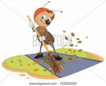 Janitor ant sweeps broom fallen leaves from footpath. Isolated on white vector cartoon illustration