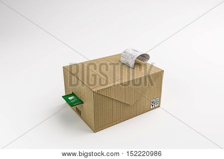 3d illustration of a carboard box cash register isolated on white background