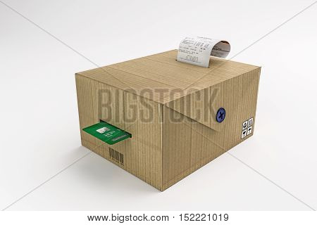 3d illustration of a cardboard box cash register isolated on white background
