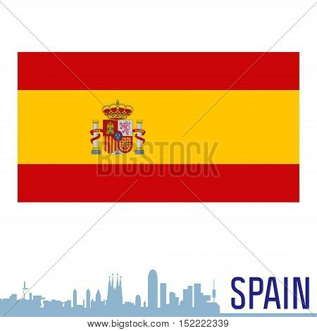 Flag of Spain in vector with silhouette of Barcelona