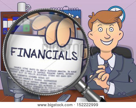 Financials on Paper in Businessman's Hand through Magnifying Glass to Illustrate a Business Concept. Multicolor Modern Line Illustration in Doodle Style.