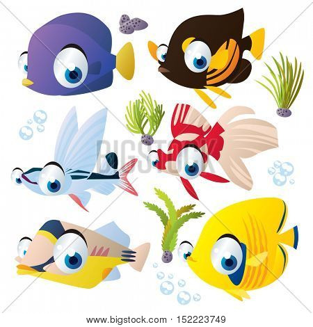 cute vector cartoon fish collection. colorful illustrations of sea life animals. flying fish, boxfish, veiltail