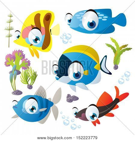 cute vector cartoon fish collection. colorful illustrations of sea life animals
