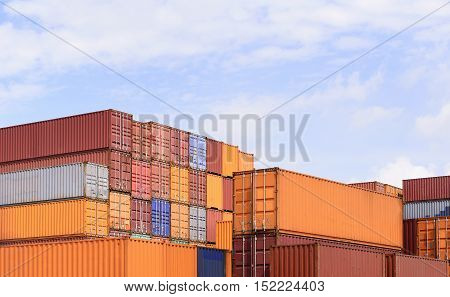 The stack of container storage on the ship yard before export process.The container storage with the sky.