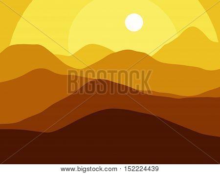 Mountains on the Sun background. Vector EPS10 illustration.