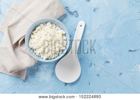 Curd cheese. Dairy products on stone table. Top view with copy space