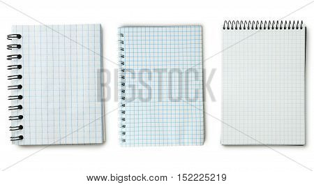 Blank Notebook on a white background, collage